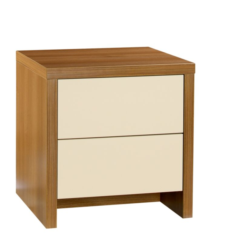 Designer 2 Drawer Bedside Cabinet Walnut And Vanilla Gloss