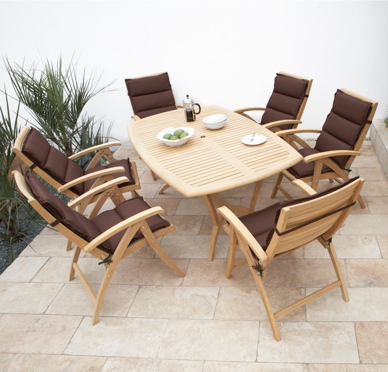Veneto Roble Hardwood Dining Set With 6 Reclining Chairs