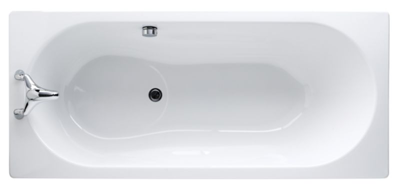 Luxury Steel Straight Bath White (L)1700 x (W)750mm