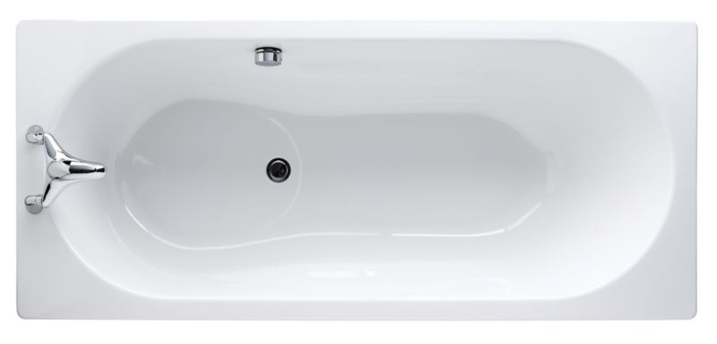 Luxury Steel Straight Bath White (L)1600 x (W)700mm