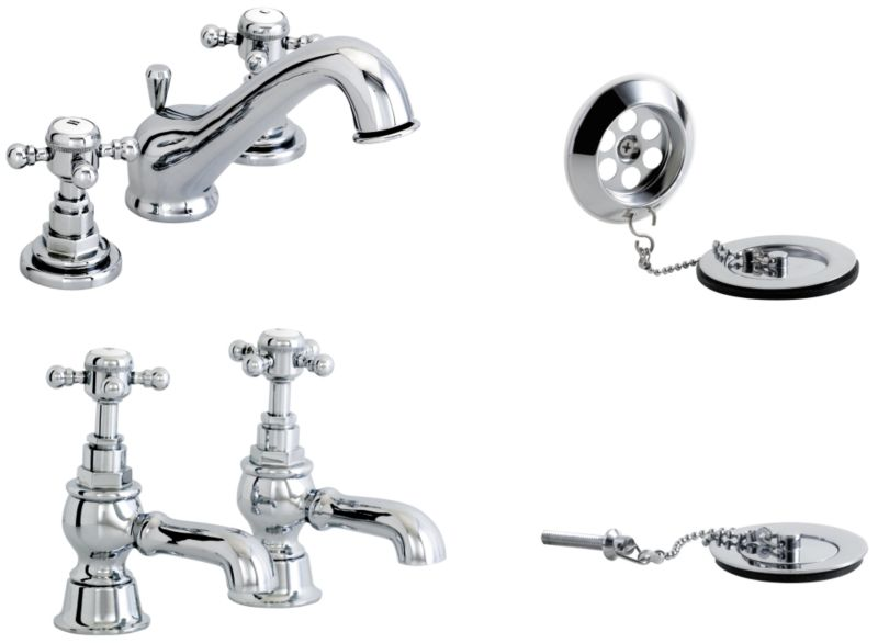 Gloucester Three Tap Hole Basin Mixer Tap And Bath Tap Pack Chrome Effect
