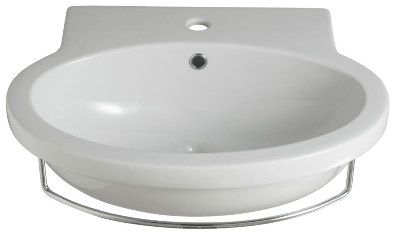 Zone Round Basin White/Chrome Effect (H)195 x (W)600 x (L)480mm