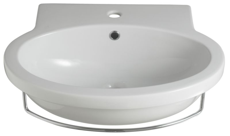 Zone Round Basin White/Chrome Effect (H)195 x (W)650 x (L)520mm