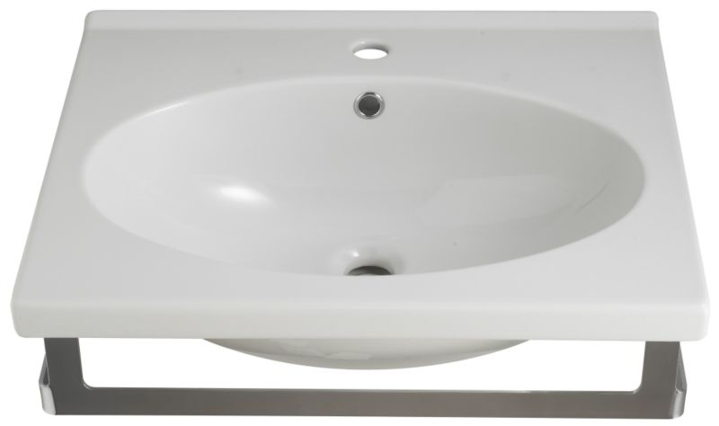 Zone Square Basin White/Chrome Effect (W)750mm