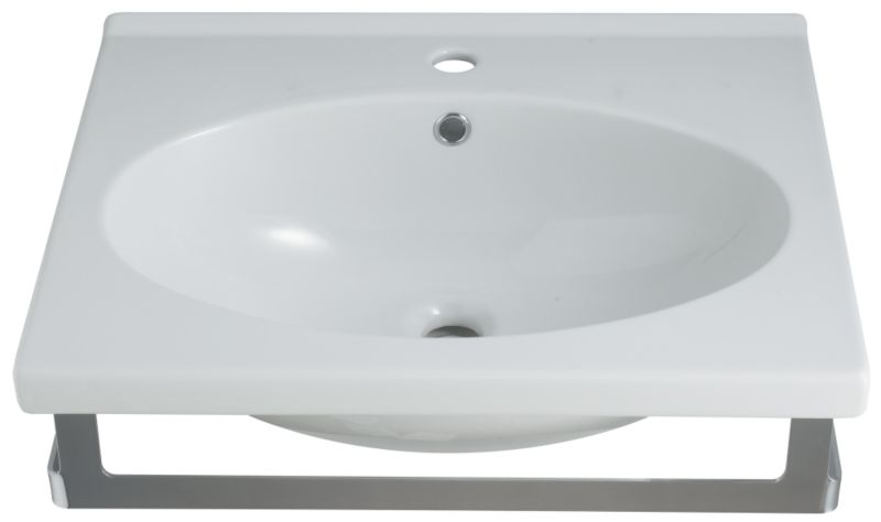 Zone Square Basin White/Chrome Effect (W)600mm