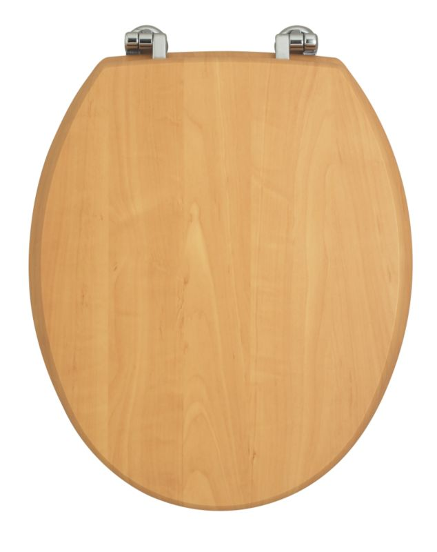 Romsey Classic Toilet Seat Pine Effect/Chrome Hinges