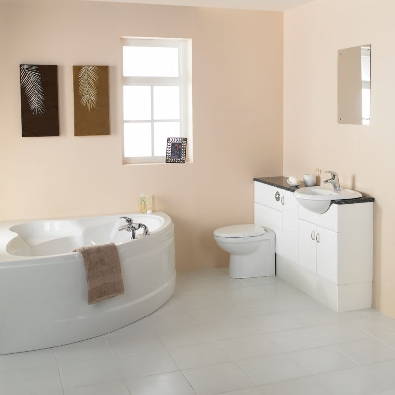 Valencia Corner Bath Suite White/Chrome Effect/Black