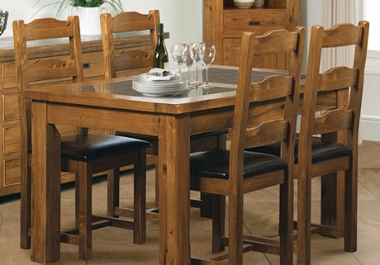G Plan Village Small ext table with 4 ladder back chairs