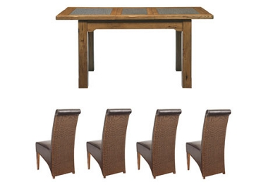 G Plan Village Small ext table with 4 loom back chairs