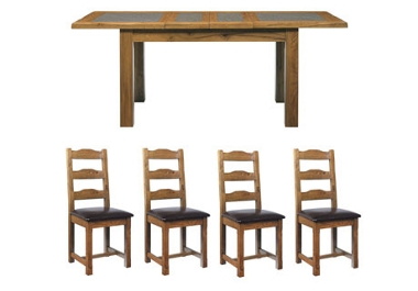 G Plan Village Large ext. table with 4 ladder back chairs