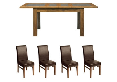G Plan Village Large ext. table with 4 roll back chairs