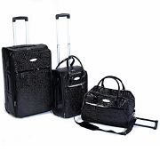 3 Piece Black Bubble Trolley Set