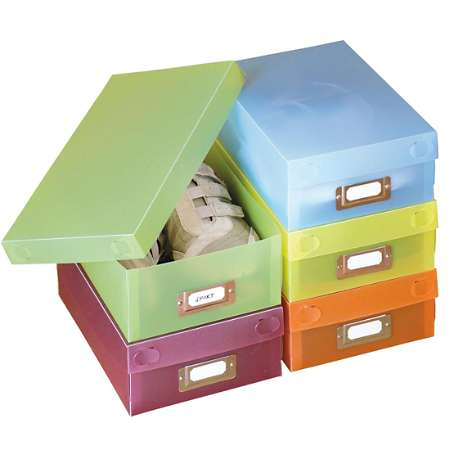 Image of 5 Coloured Shoe Boxes & Labels