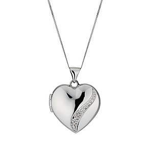 9ct white gold diamond set heart locket - Product number 1000217