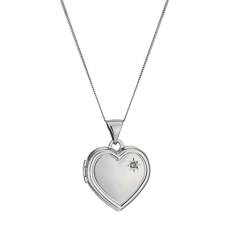 9ct white gold diamond set heart locket - Product number 1000225