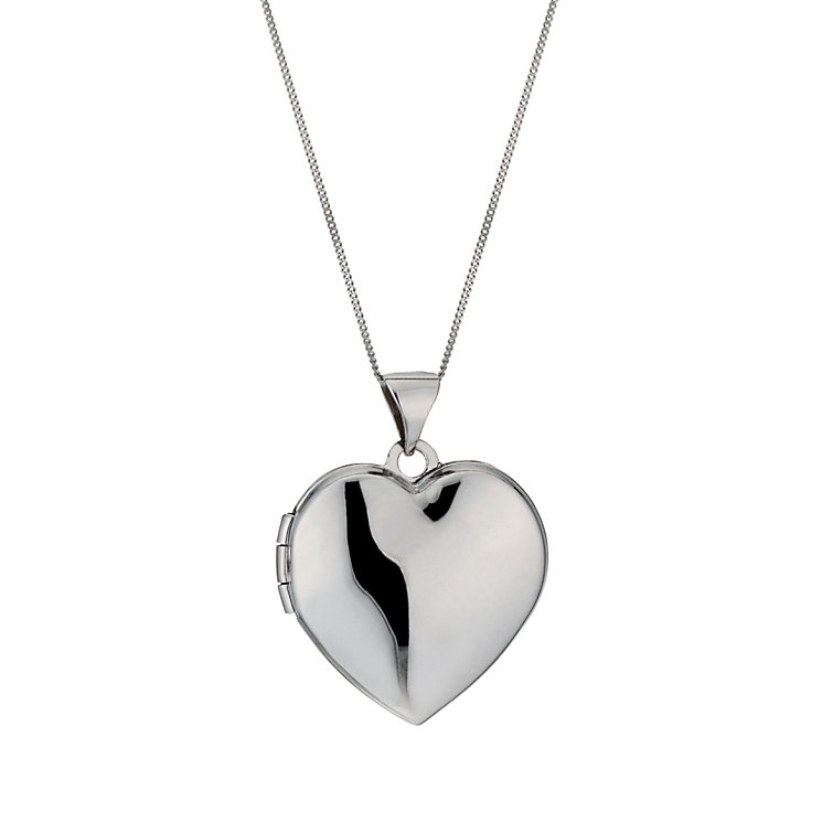 9ct white gold polished heart locket - Product number 1000268