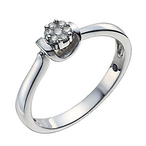 Sterling silver diamond solitaire cluster ring - Product number 1001612
