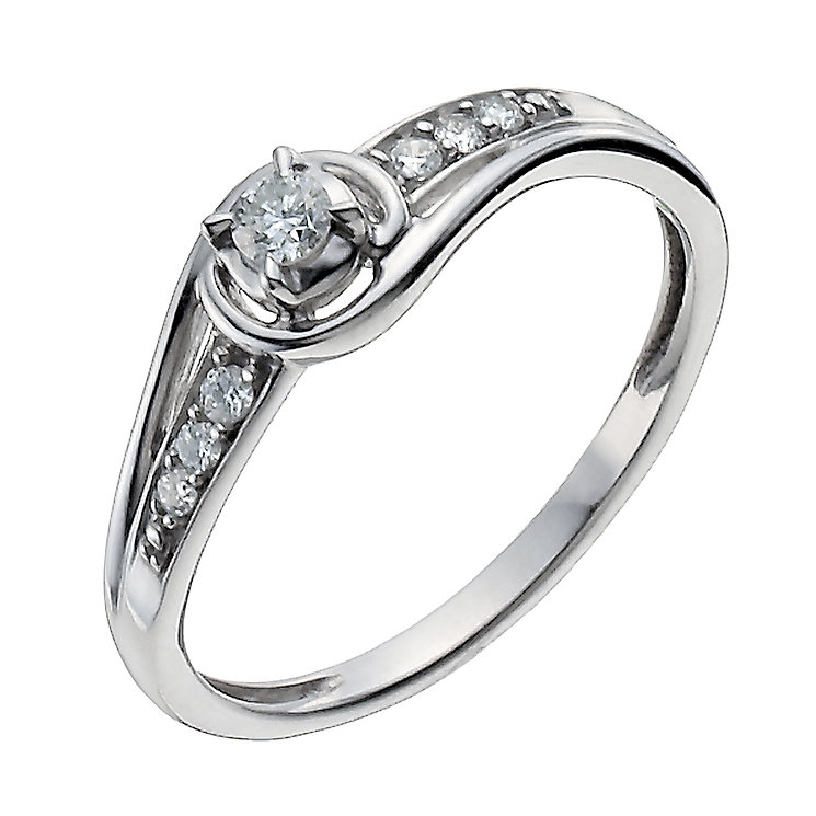 Sterling Silver fancy 12 point diamond solitaire ring - Product number 1001884