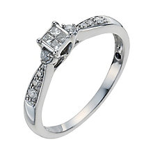 Sterling silver 15 point princess cut diamond ring - Product number 1002015