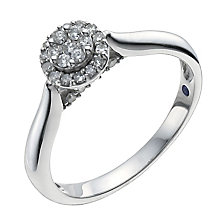 Sterling silver 0.20ct diamond halo cluster ring - Product number 1002147