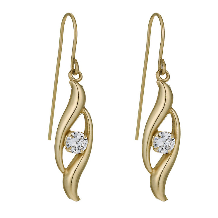 9ct Yellow Gold Cubic Zirconia Swirl Earrings - Product number 1003232