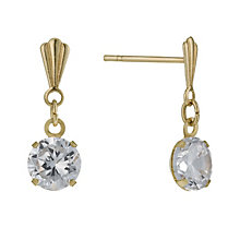 9ct Yellow Gold 5mm Cubic Zirconia Drop Earrings - Product number 1003259