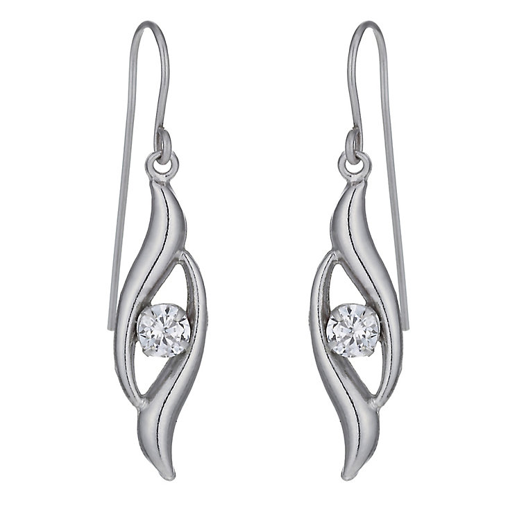 9ct White Gold Cubic Zirconia Swirl Earrings - Product number 1003593