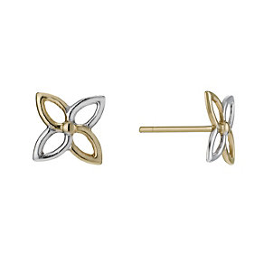 9ct Yellow Gold Two Tone Open Flower Stud Earrings - Product number 1003631