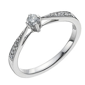 9ct white gold one fifth of a carat diamond ring - Product number 1003763