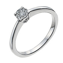 9ct white gold 10 point diamond solitaire cluster ring - Product number 1003909