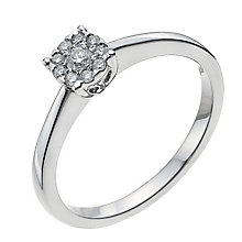 9ct white gold 15 point diamond solitaire cluster ring - Product number 1004042
