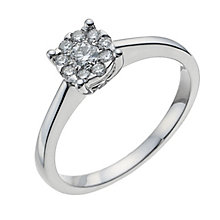9ct white gold 0.25ct solitaire cluster ring - Product number 1004301
