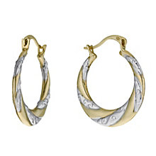 9ct Two Tone Swirl Creole Hoop Earrings - Product number 1005200