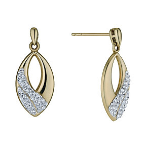 Sterling Silver & 9ct Yellow Gold Plate Crystal Earrings - Product number 1005219