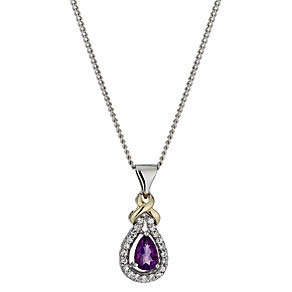 Silver & 9ct Gold Amethyst & Cubic Zirconia Kiss Pendant - Product number 1005243