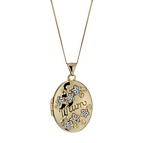 9ct Yellow & White Gold Mum Oval Locket - Product number 1005286
