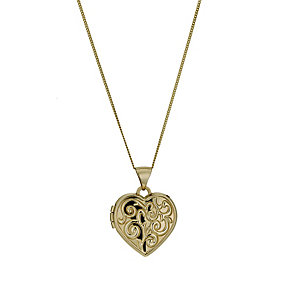 9ct Yellow Gold Swirl Pattern Heart Locket - Product number 1005294