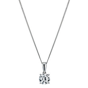 9ct white gold 5mm cubic zirconia round pendant necklace - Product number 1007300