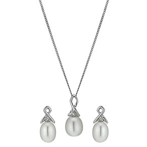 9ct white gold cultured freshwater pearl diamond set - Product number 1007378