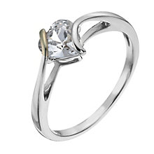 Sterling Silver & 9ct Gold Cubic Zirconia Heart Ring - Product number 1007645