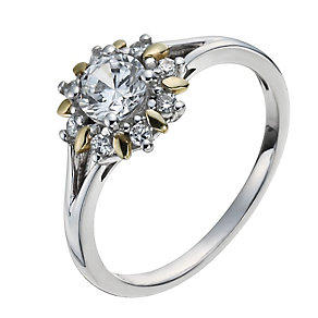 Sterling Silver & 9ct Gold Flower Cluster Ring - Product number 1007939