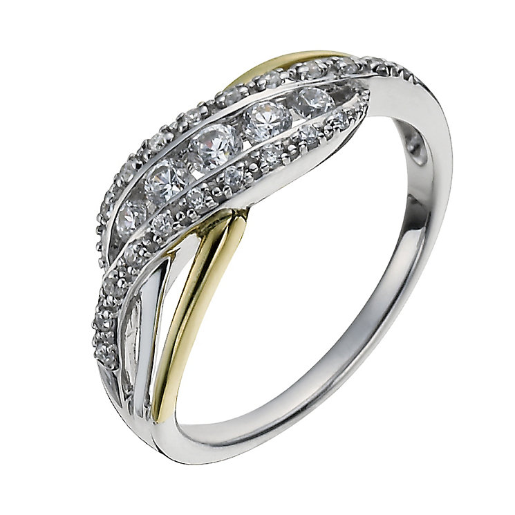 Sterling Silver & 9ct Gold Cubic Zirconia Twist Ring - Product number 1008080