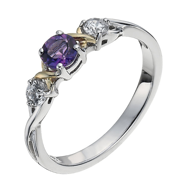 Sterling Silver & 9ct Gold Amethyst Three Stone Ring - Product number 1008374