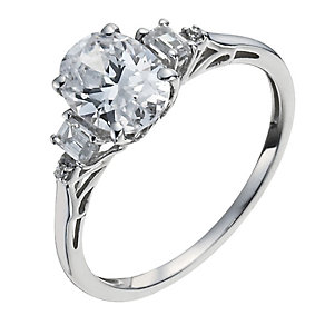 9ct White Gold Cubic Zirconia Fancy Ring - Product number 1008668
