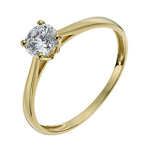 9ct Yellow Gold 5mm Cubic Zirconia Solitaire Ring - Product number 1008943