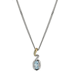 Silver & 9ct Gold Blue Topaz & Swirl Pendant - Product number 1009648