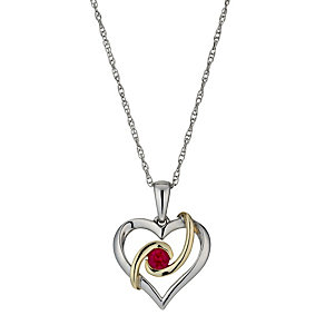 Sterling Silver & 9ct Gold Created Ruby Heart Pendant - Product number 1009656