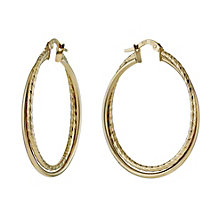 9ct Yellow Gold Double Diamond Cut 30mm Creole Hoop Earrings - Product number 1010271