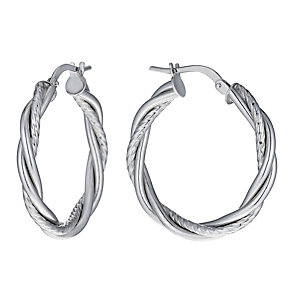 9ct White Gold 20mm Diamond Cut Twist Creole Hoop Earrings - Product number 1010301