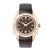 Bulova Men's Stainless Steel Brown Strap Watch - Product number 1012940